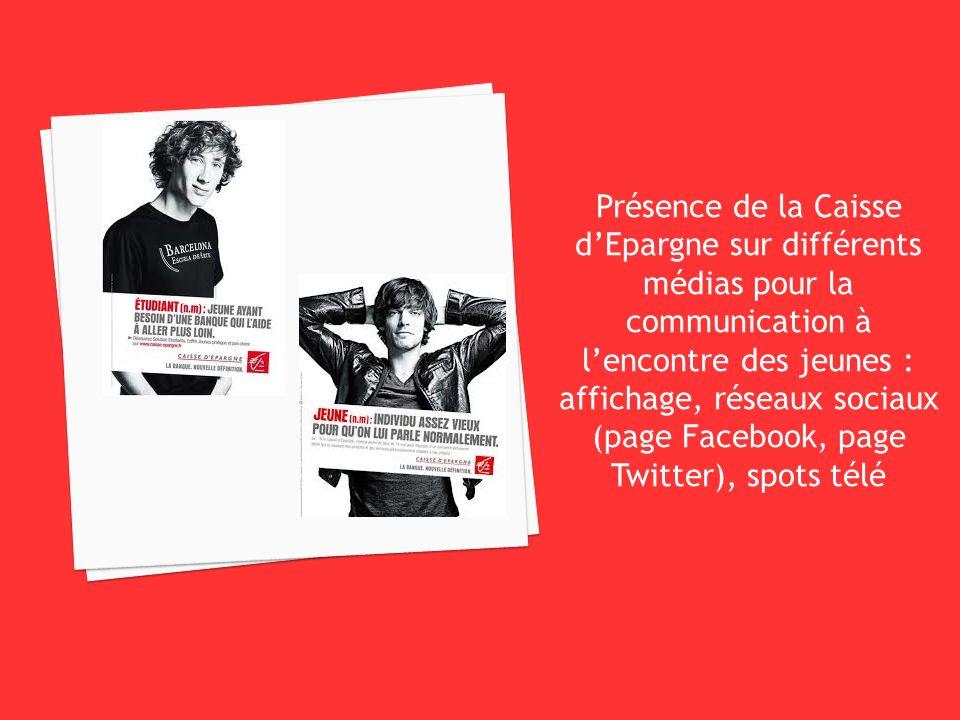 Présence de la Caisse d'Epargne sur différents médias pour la communication à l'encontre des jeunes : affichage, réseaux sociaux (page Facebook, page Twitter), spots télé