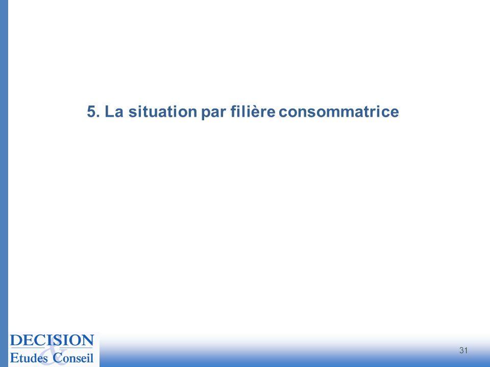 5. La situation par filière consommatrice