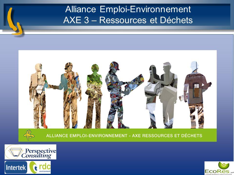 Alliance Emploi-Environnement AXE 3 – Ressources et Déchets