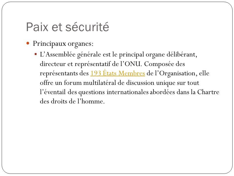 Paix et sécurité Principaux organes: