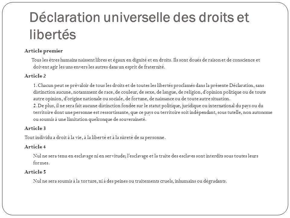Déclaration universelle des droits et libertés