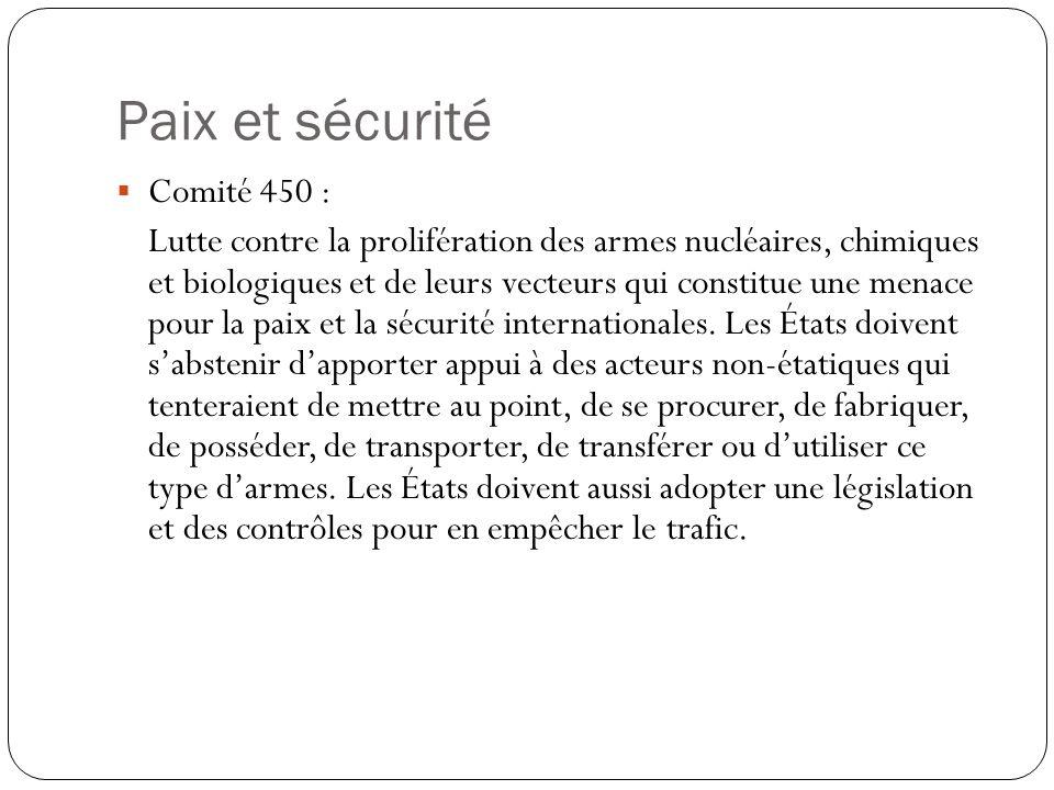 Paix et sécurité Comité 450 :
