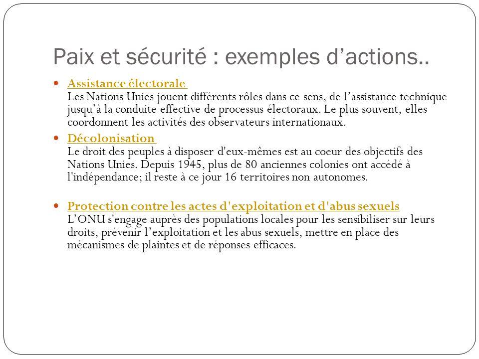 Paix et sécurité : exemples d'actions..