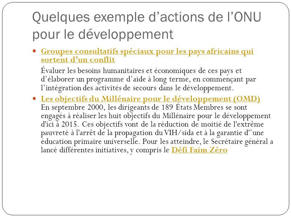 Quelques exemple d'actions de l'ONU pour le développement
