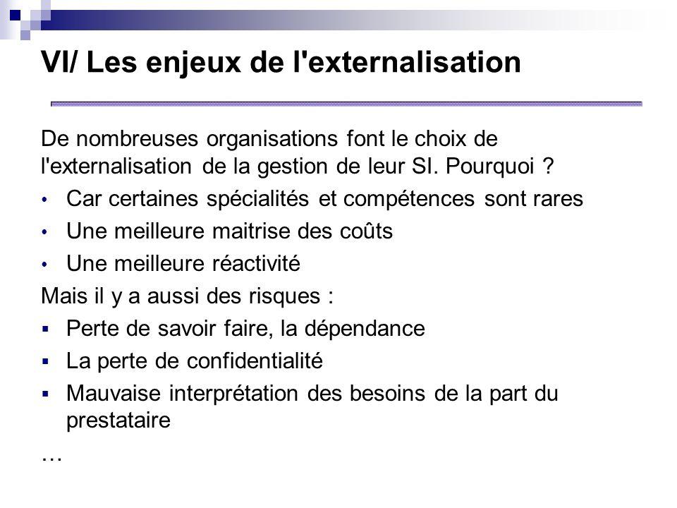 VI/ Les enjeux de l externalisation