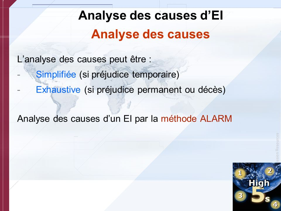 Analyse des causes d'EI Analyse des causes