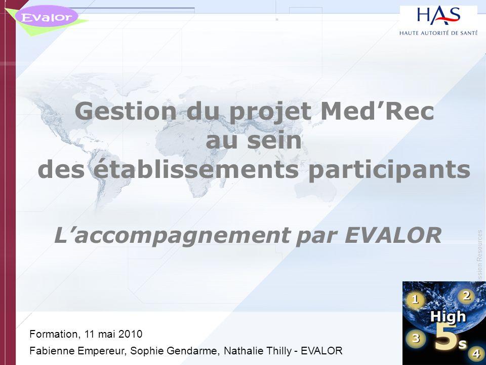 Gestion du projet Med'Rec au sein des établissements participants