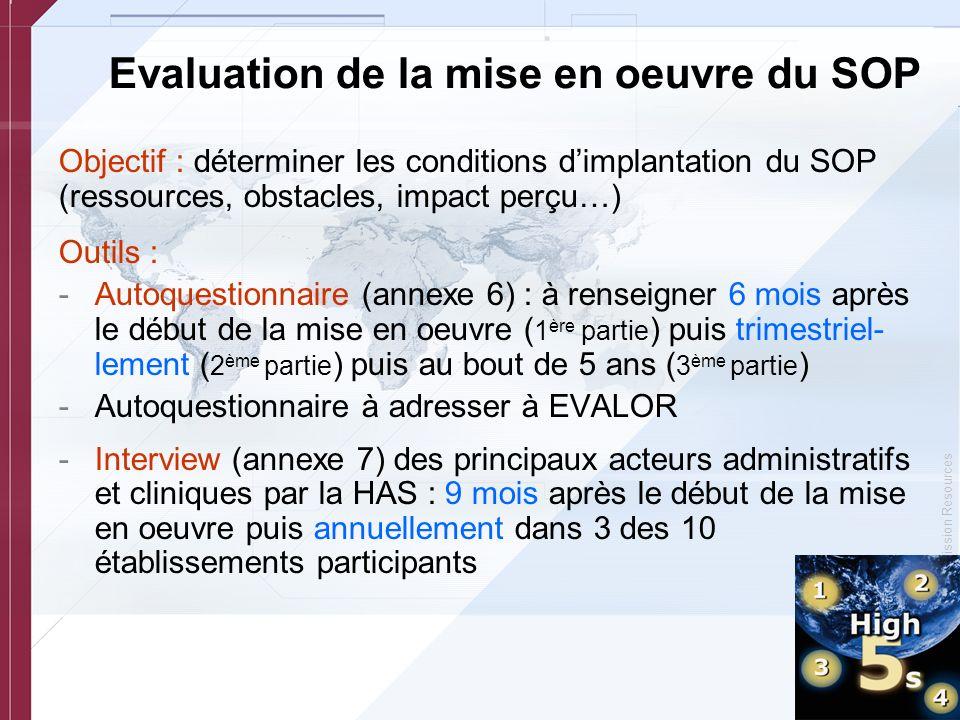 Evaluation de la mise en oeuvre du SOP