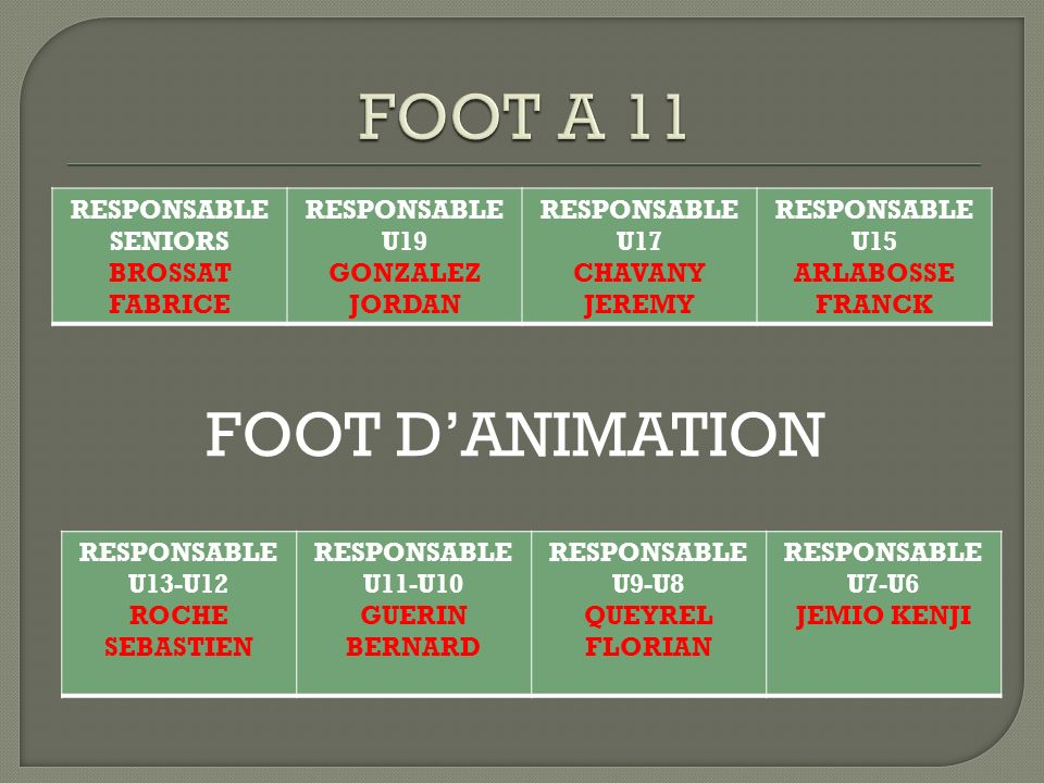 FOOT A 11 FOOT D'ANIMATION RESPONSABLE SENIORS BROSSAT FABRICE