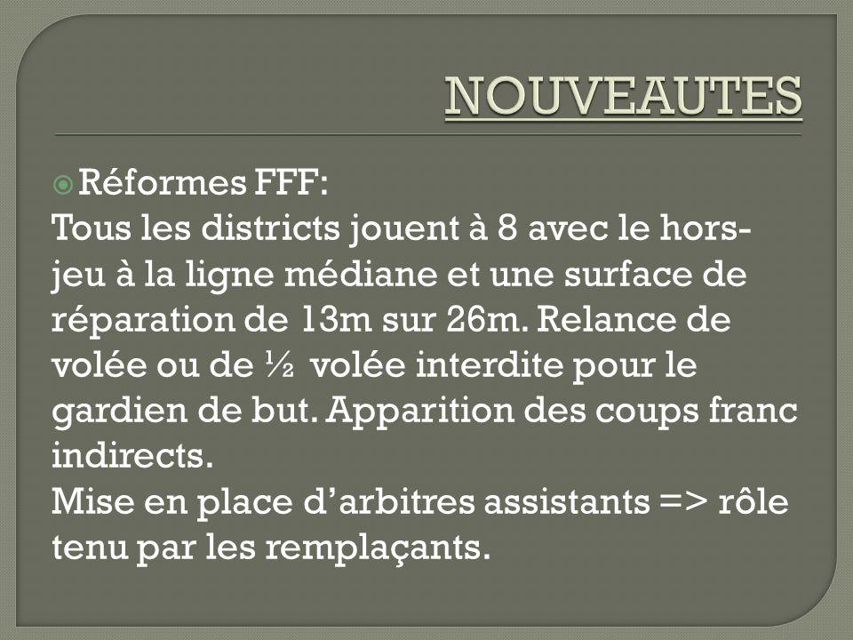 NOUVEAUTES Réformes FFF: