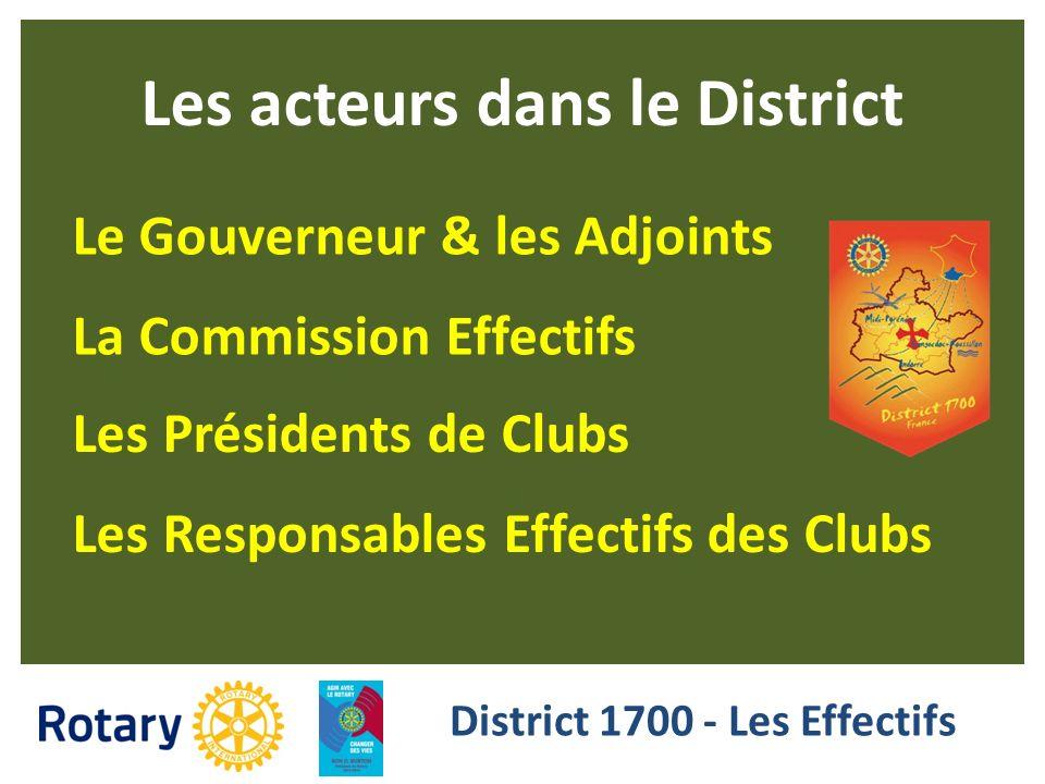 Les acteurs dans le District District 1700 - Les Effectifs