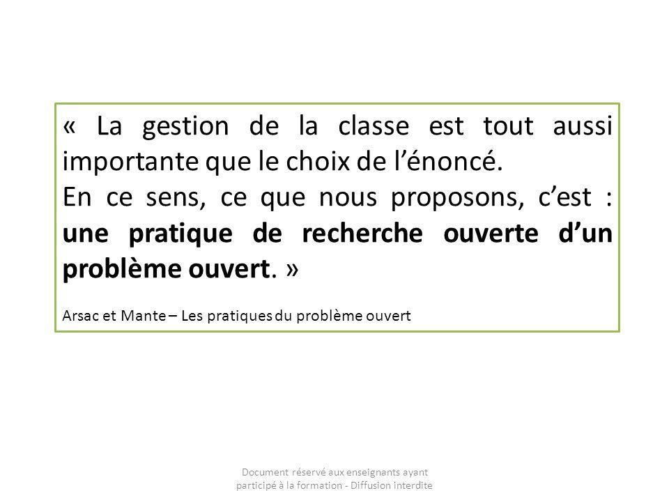 « La gestion de la classe est tout aussi importante que le choix de l'énoncé.