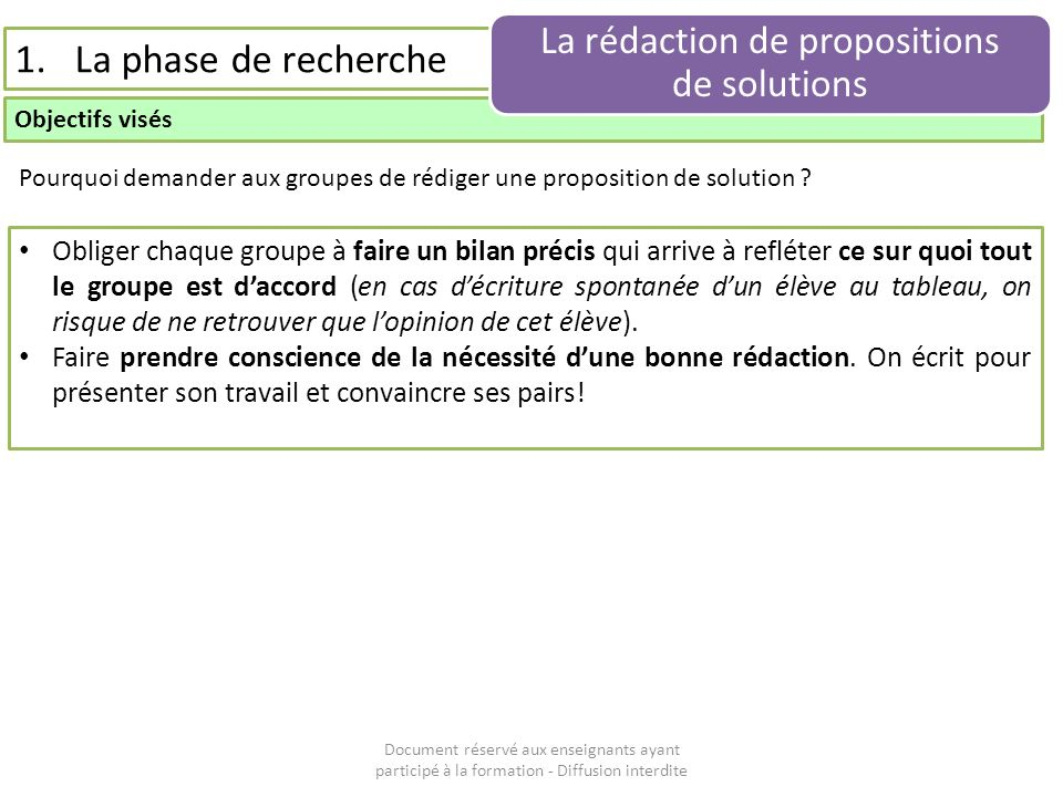 La rédaction de propositions de solutions