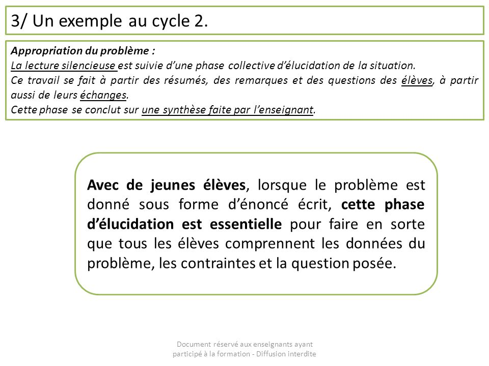 3/ Un exemple au cycle 2. Appropriation du problème : La lecture silencieuse est suivie d'une phase collective d'élucidation de la situation.