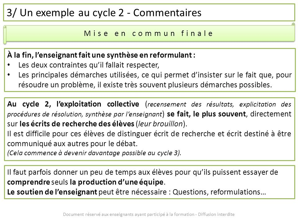 3/ Un exemple au cycle 2 - Commentaires