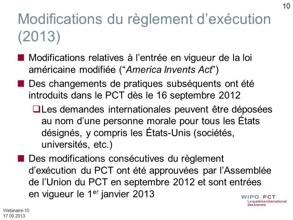Modifications du règlement d'exécution (2013)