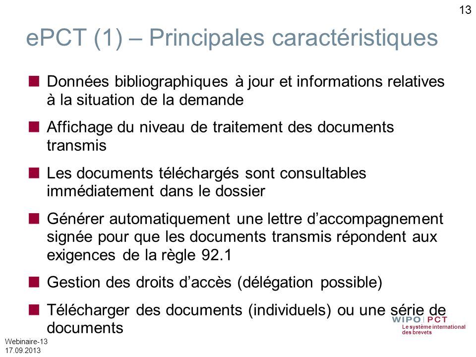 ePCT (1) – Principales caractéristiques