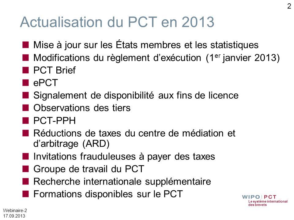 Actualisation du PCT en 2013