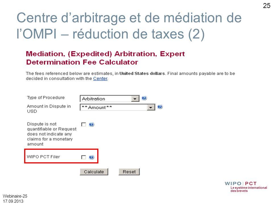 Centre d'arbitrage et de médiation de l'OMPI – réduction de taxes (2)
