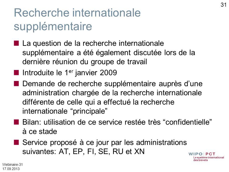 Recherche internationale supplémentaire