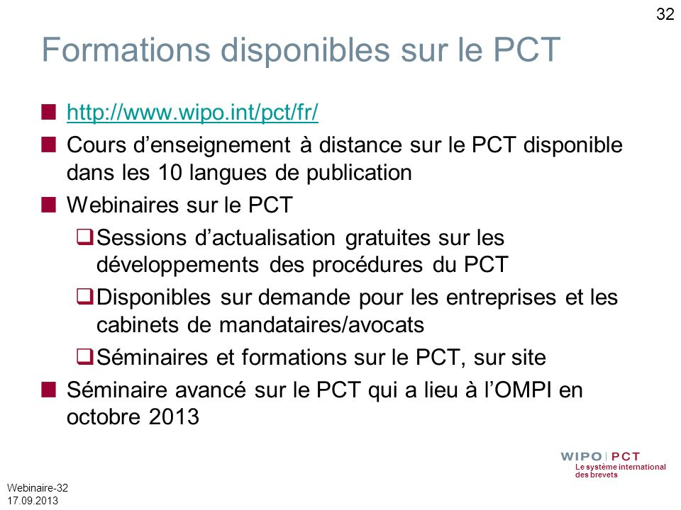 Formations disponibles sur le PCT