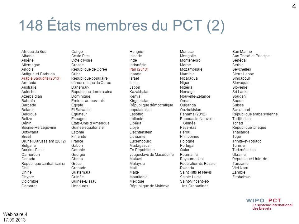 148 États membres du PCT (2) Afrique du Sud Albanie Algérie Allemagne