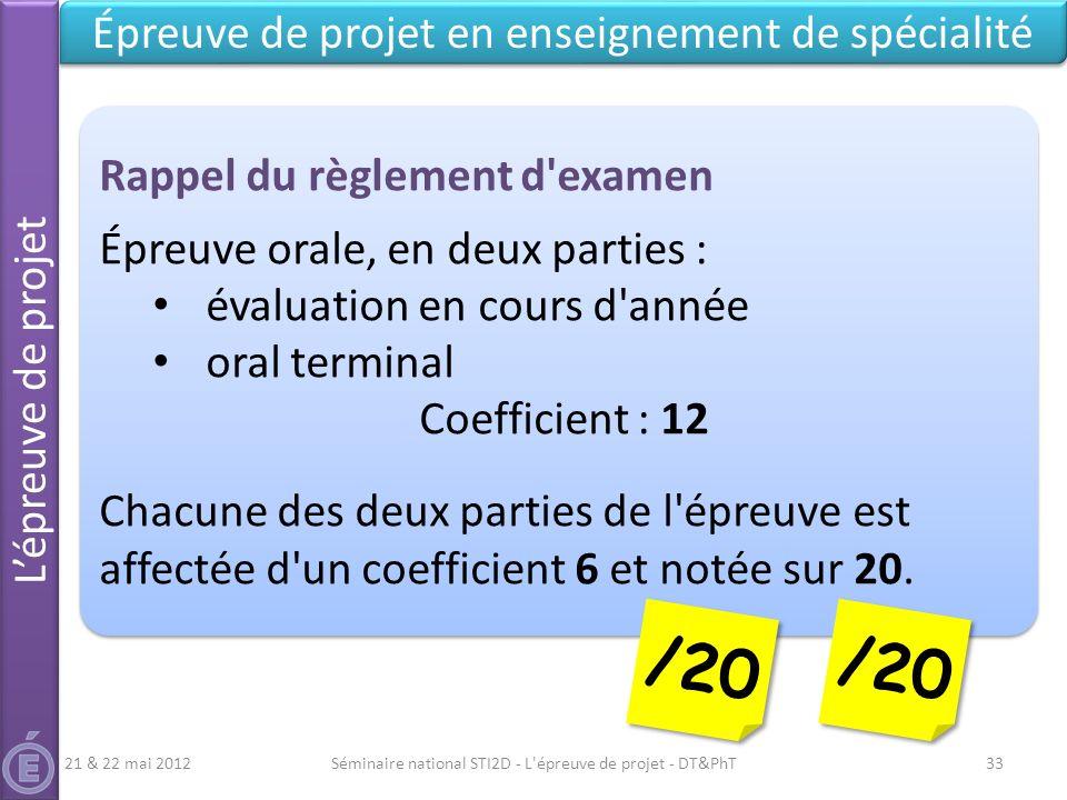 /20 /20 Épreuve de projet en enseignement de spécialité