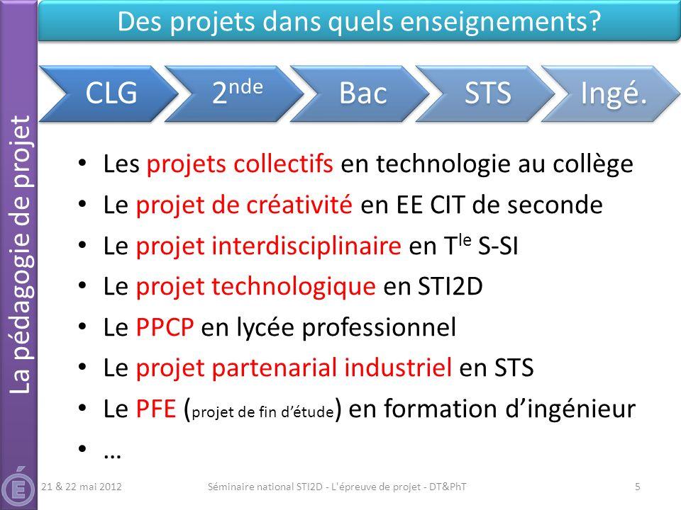 CLG 2nde Bac STS Ingé. Des projets dans quels enseignements