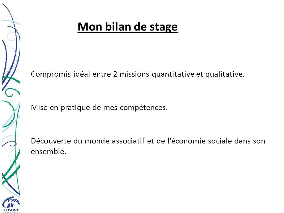 Mon bilan de stage Compromis idéal entre 2 missions quantitative et qualitative. Mise en pratique de mes compétences.