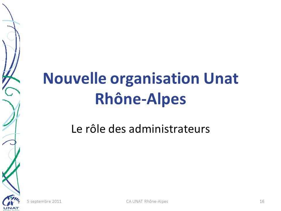 Nouvelle organisation Unat Rhône-Alpes