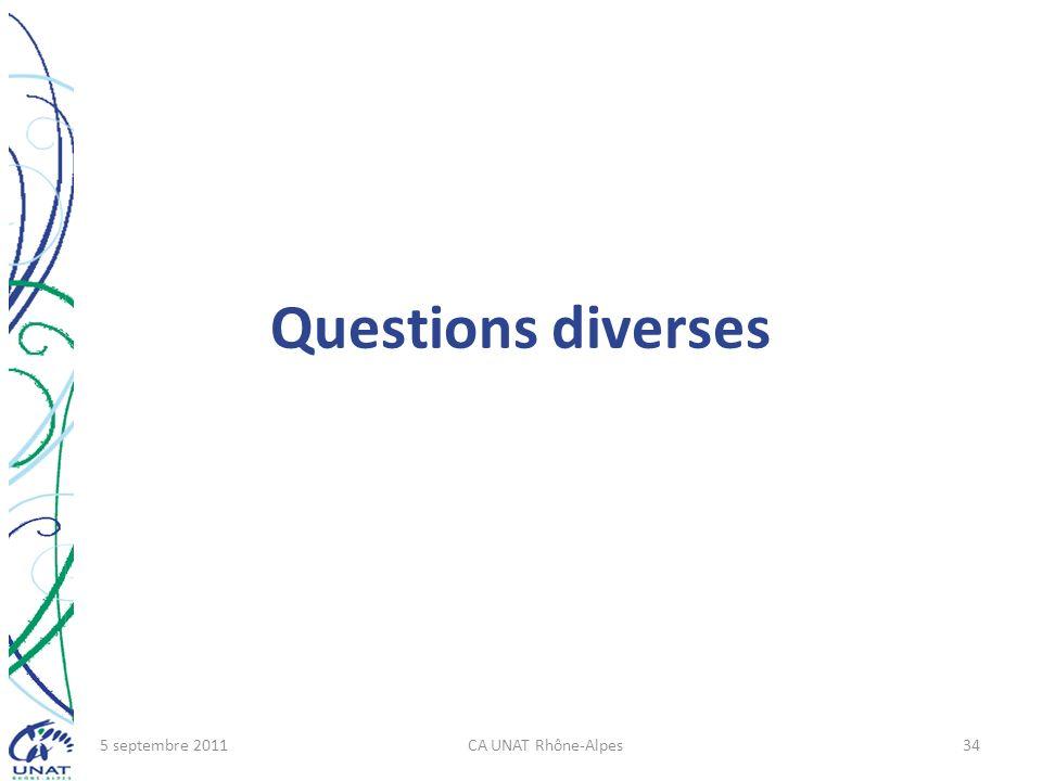 Questions diverses 5 septembre 2011 CA UNAT Rhône-Alpes