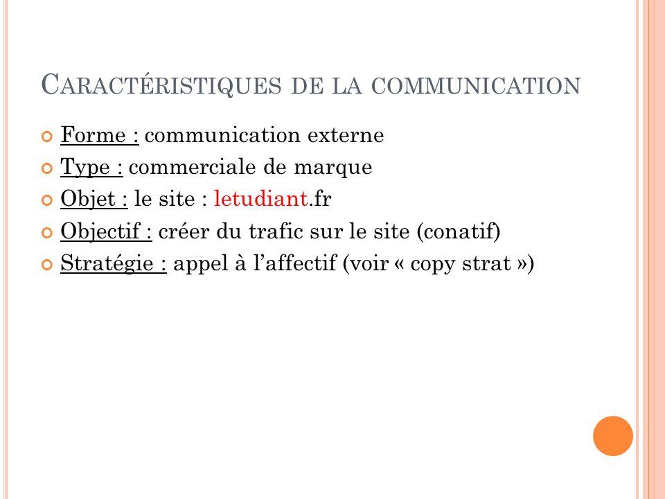 Caractéristiques de la communication