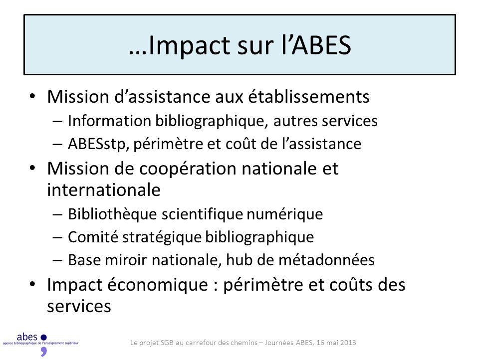 Le projet SGB au carrefour des chemins – Journées ABES, 16 mai 2013