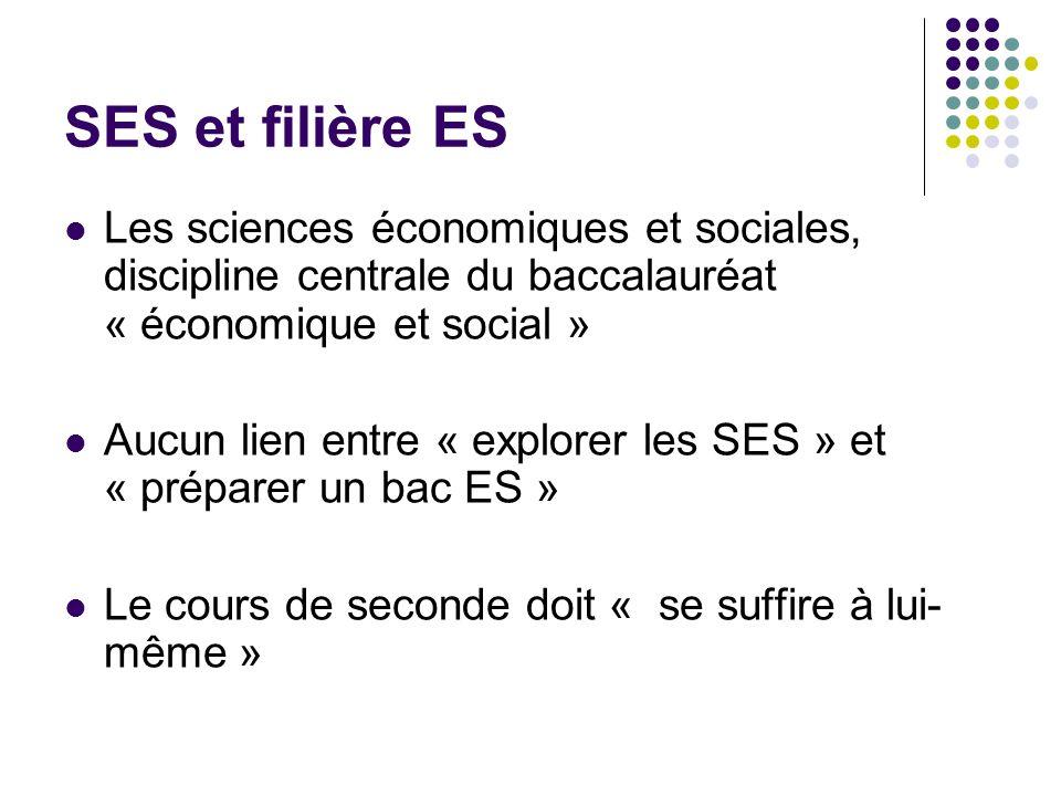 SES et filière ES Les sciences économiques et sociales, discipline centrale du baccalauréat « économique et social »