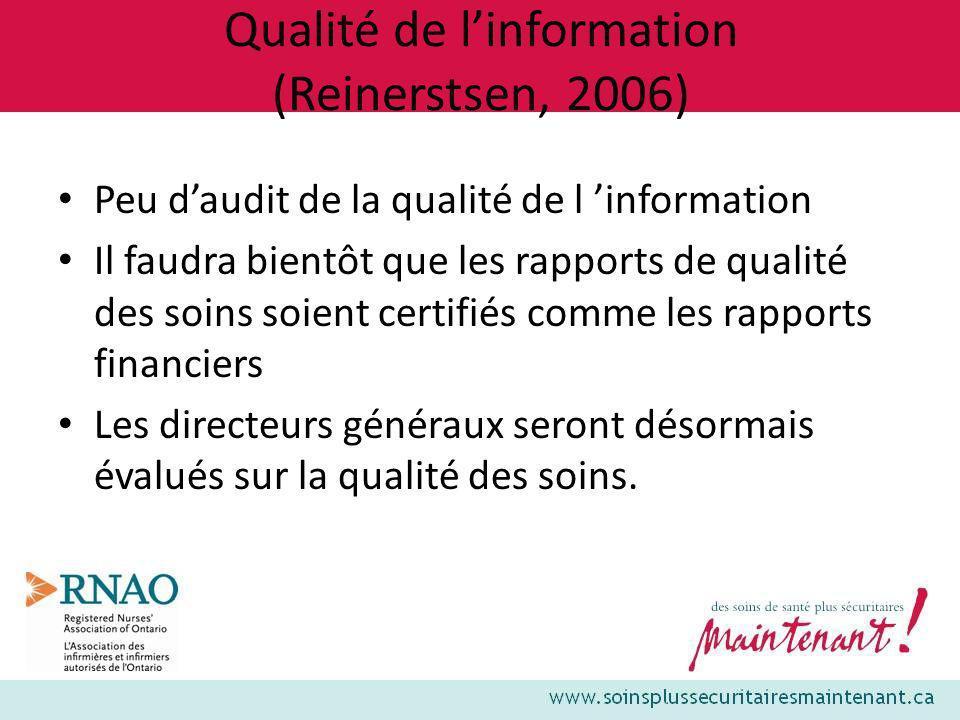 Qualité de l'information (Reinerstsen, 2006)
