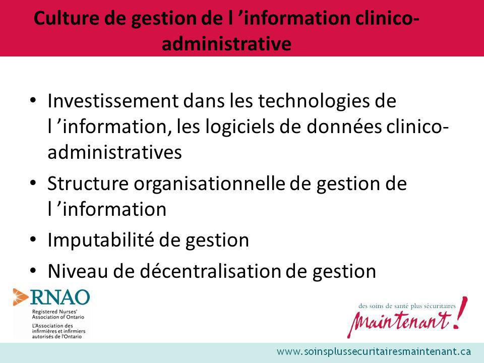 Culture de gestion de l 'information clinico-administrative