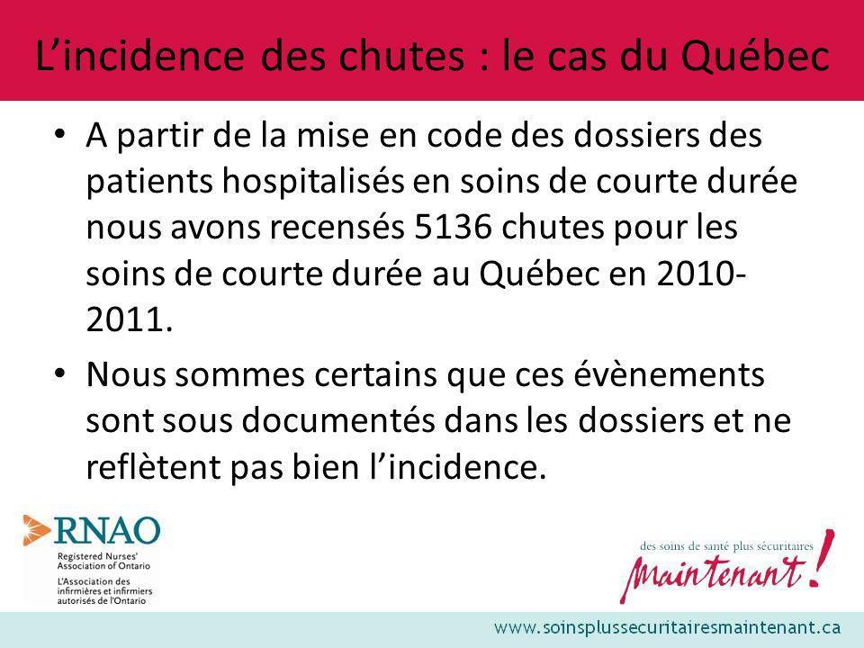 L'incidence des chutes : le cas du Québec
