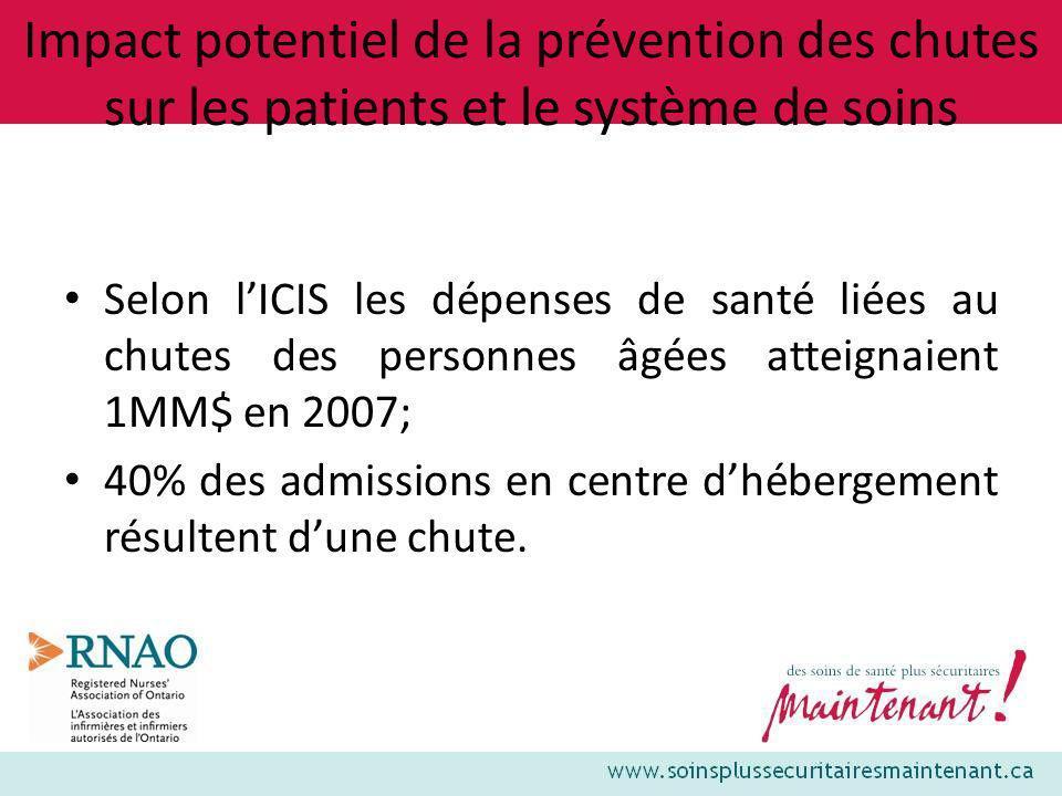 Impact potentiel de la prévention des chutes sur les patients et le système de soins
