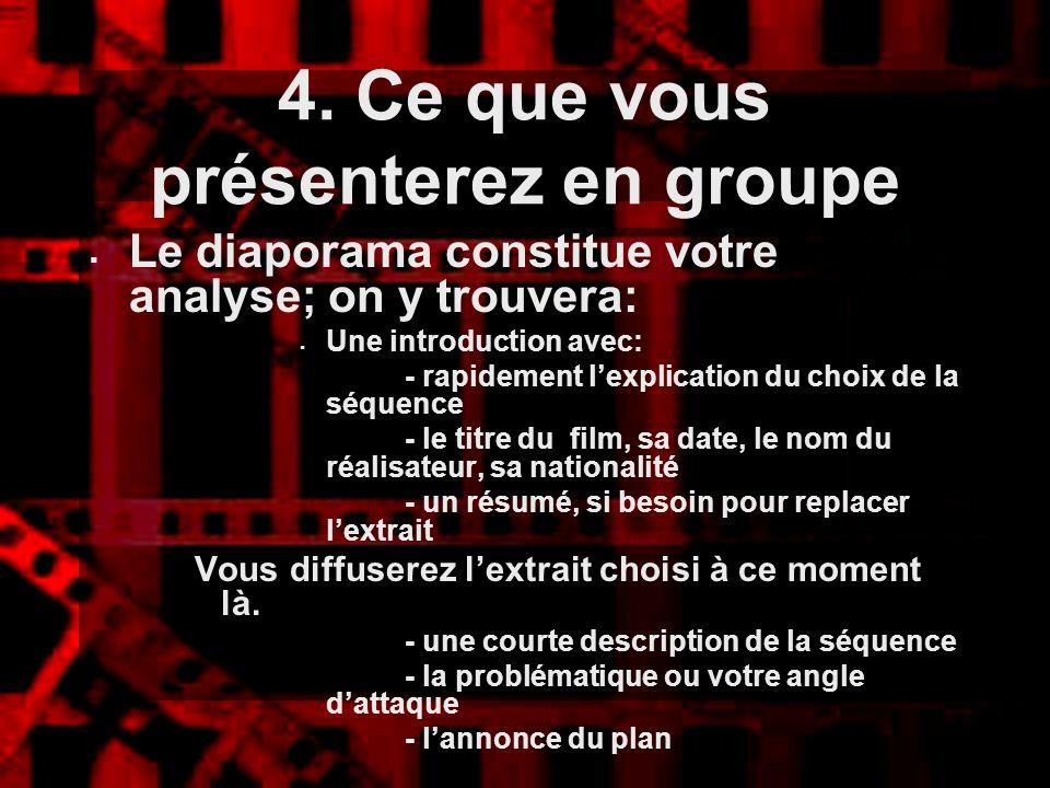 4. Ce que vous présenterez en groupe