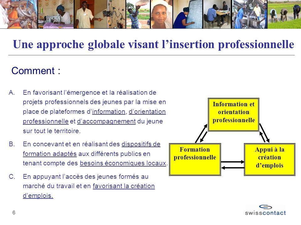 Une approche globale visant l'insertion professionnelle