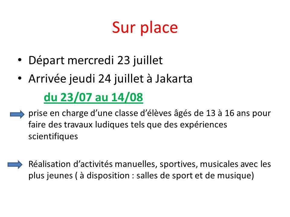 Sur place Départ mercredi 23 juillet