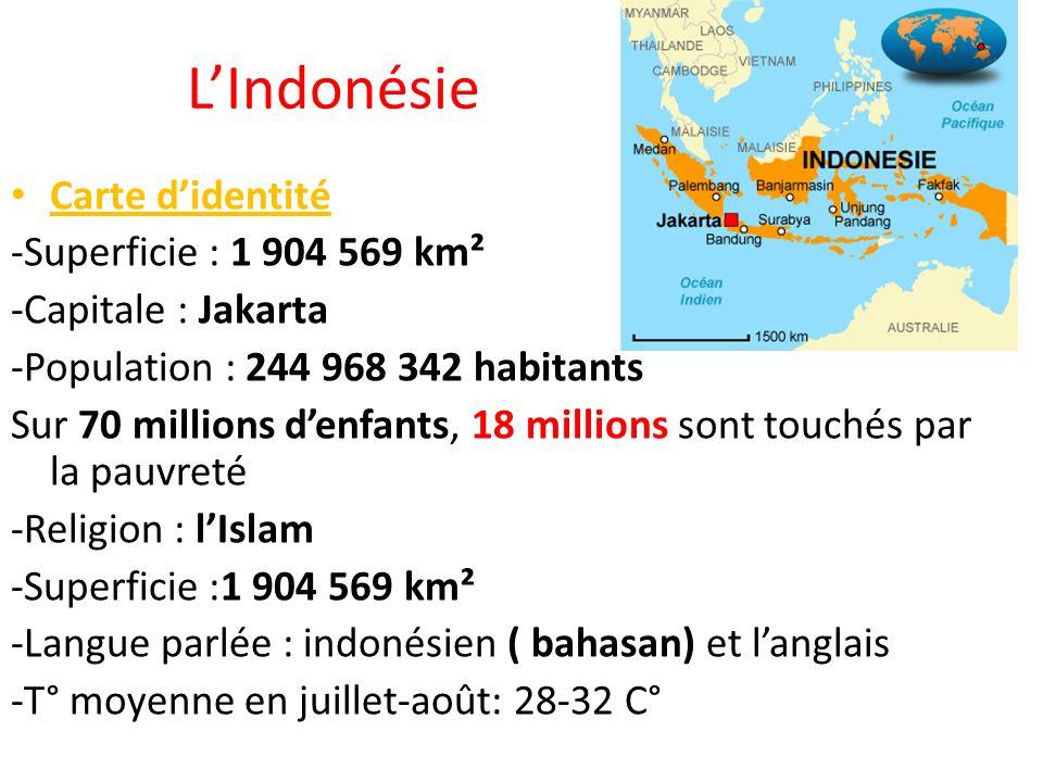 L'Indonésie Carte d'identité -Superficie : 1 904 569 km²