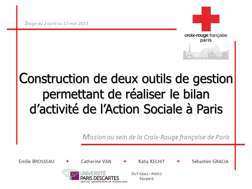 Mission au sein de la Croix-Rouge française de Paris
