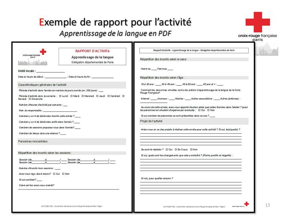 Exemple de rapport pour l'activité Apprentissage de la langue en PDF