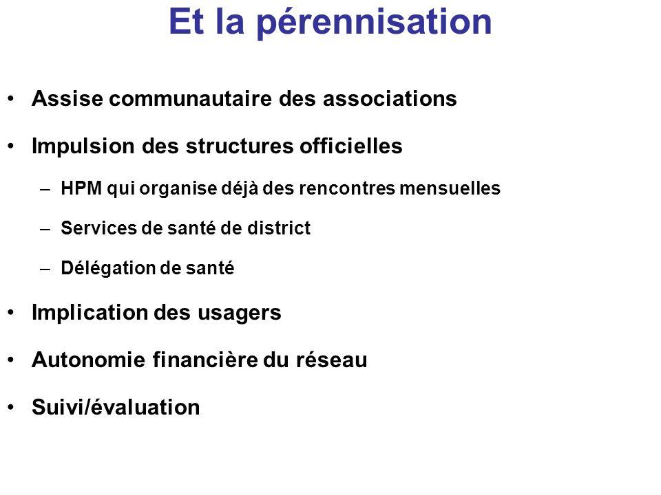 Et la pérennisation Assise communautaire des associations