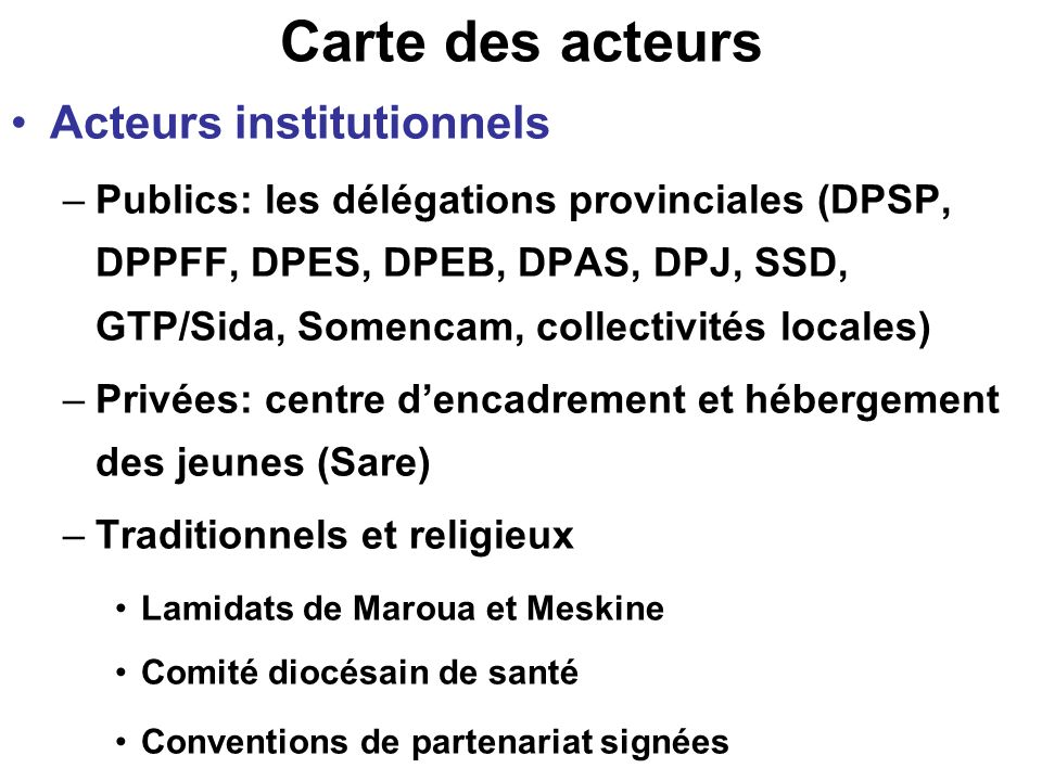 Carte des acteurs Acteurs institutionnels