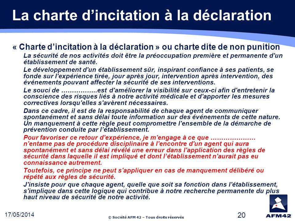 La charte d'incitation à la déclaration