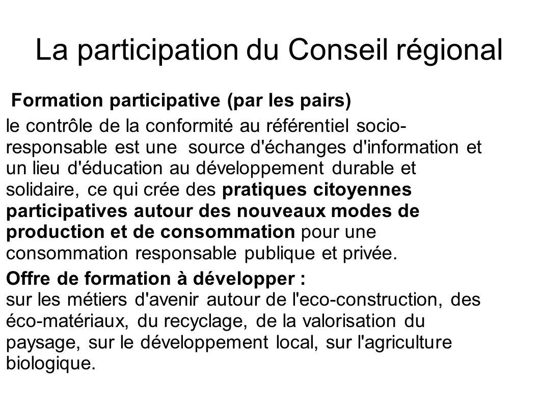 La participation du Conseil régional