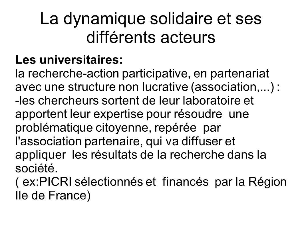 La dynamique solidaire et ses différents acteurs