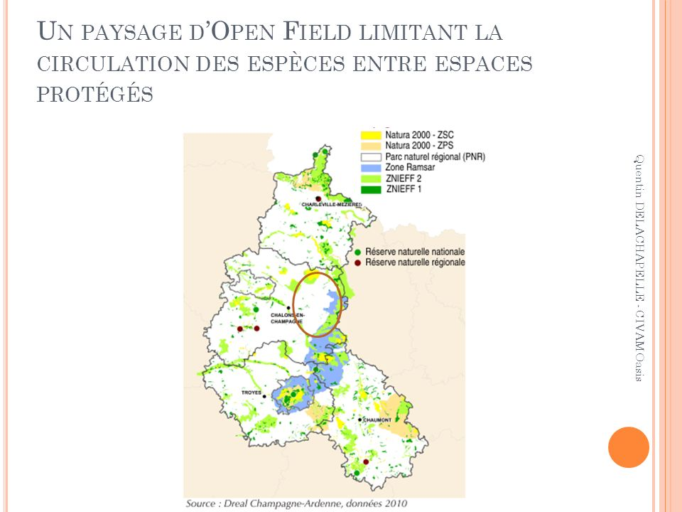 Un paysage d'Open Field limitant la circulation des espèces entre espaces protégés